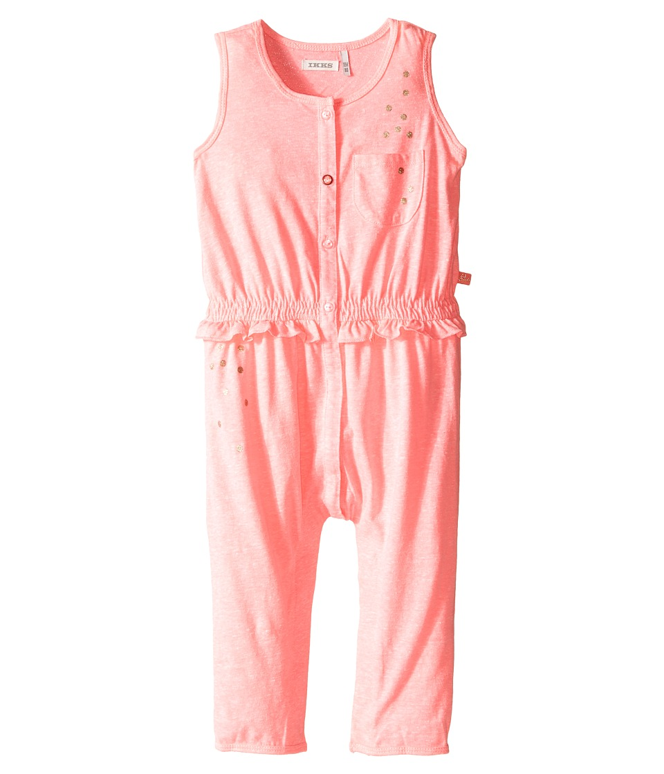 IKKS Jersey Jumpsuit with Metallic Polka Dots Button Up Front Snaps Up Infant Neon Pink Girls Jumpsuit Rompers One Piece