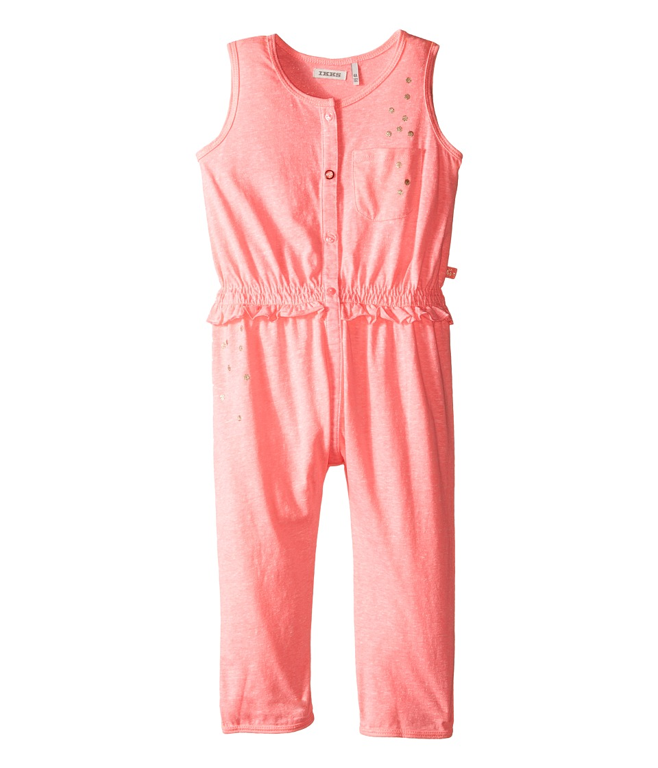 IKKS Jersey Jumpsuit with Metallic Polka Dots Button Up Front No Snaps Toddler Neon Pink Girls Jumpsuit Rompers One Piece