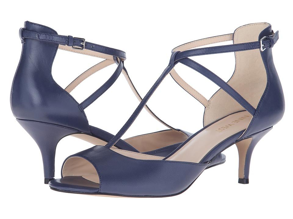 Nine West Gamgee Navy Leather High Heels