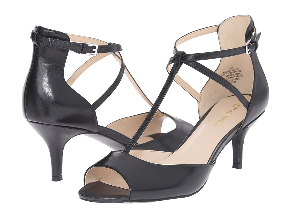 Nine West Gamgee Black Leather High Heels