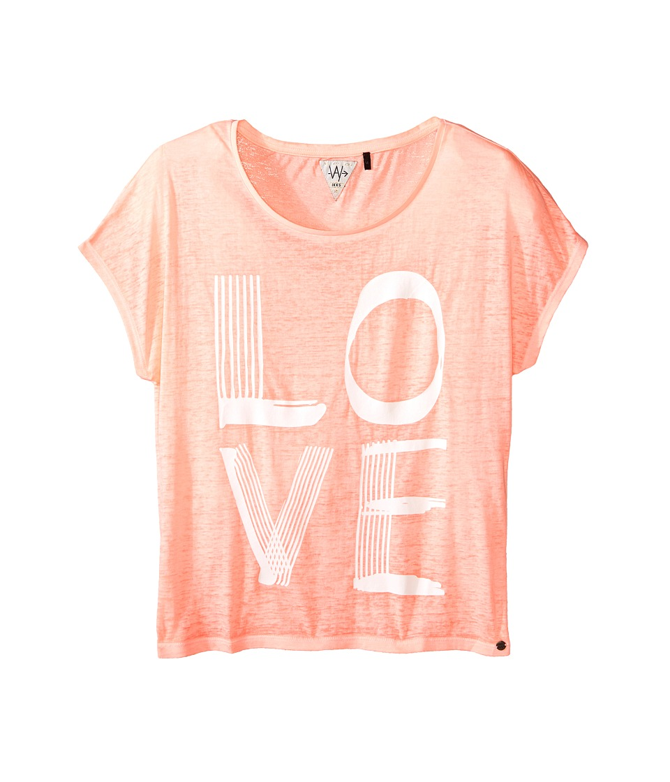 IKKS Jersey Top with Burnout Short Sleeves Follow Your Dreams Arrow Graphic Big Kids Neon Coral Girls Short Sleeve Pullover