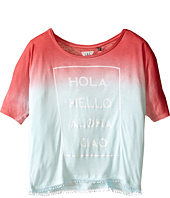 IKKS - Dip Dyed Loose Top with Fringe Bottom & Hola Hello Aloha Ciao Graphic (Big Kids)