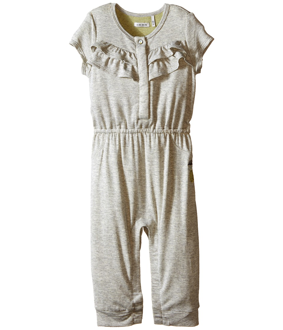 IKKS Jersey Jumpsuit with Ruffles/Snap Front with Cat/Pineapple Graphic on Back Snaps Up Infant Dark Grey Girls Jumpsuit Rompers One Piece