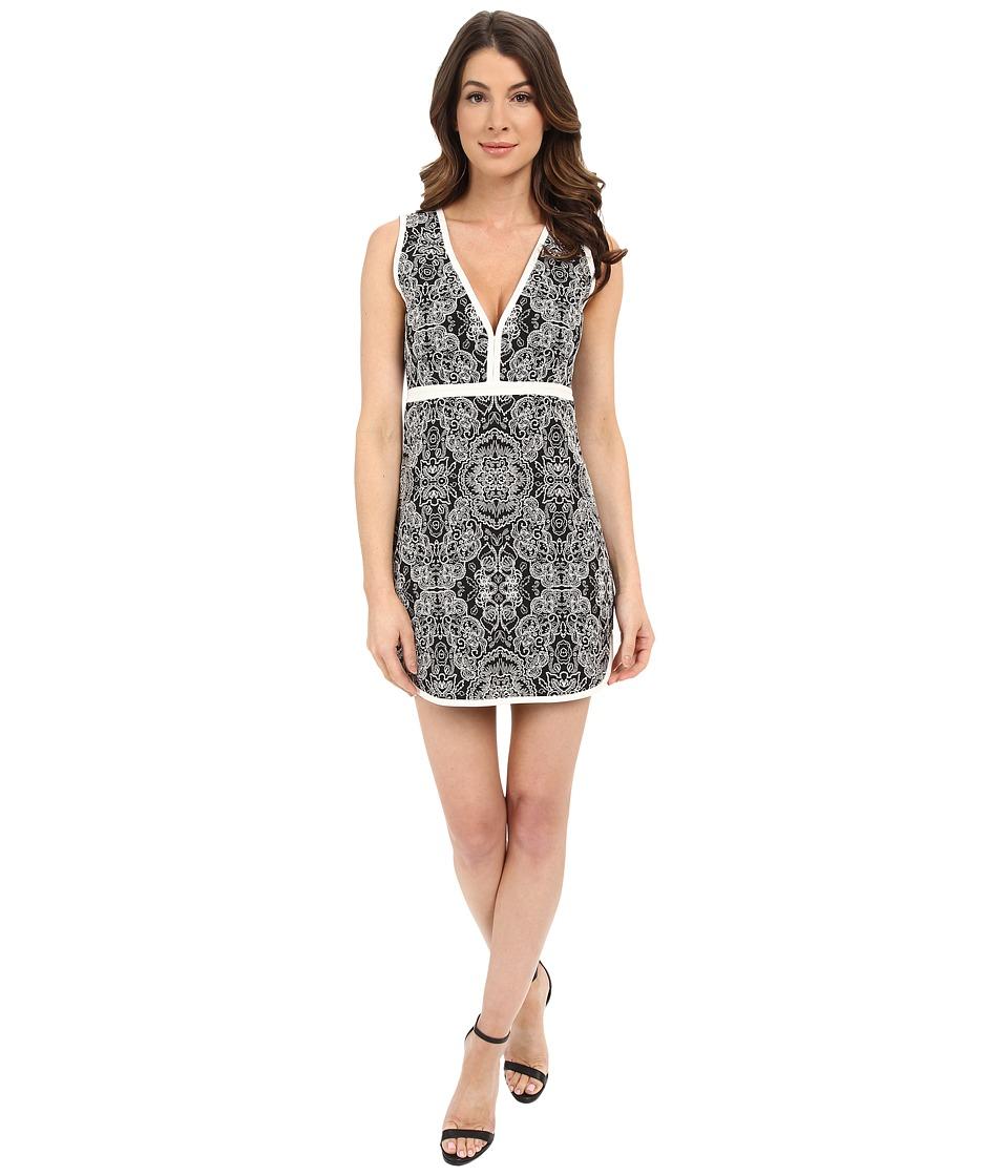 Rachel Zoe Detra Floral Jacquard Dress Black/White Multi Womens Dress