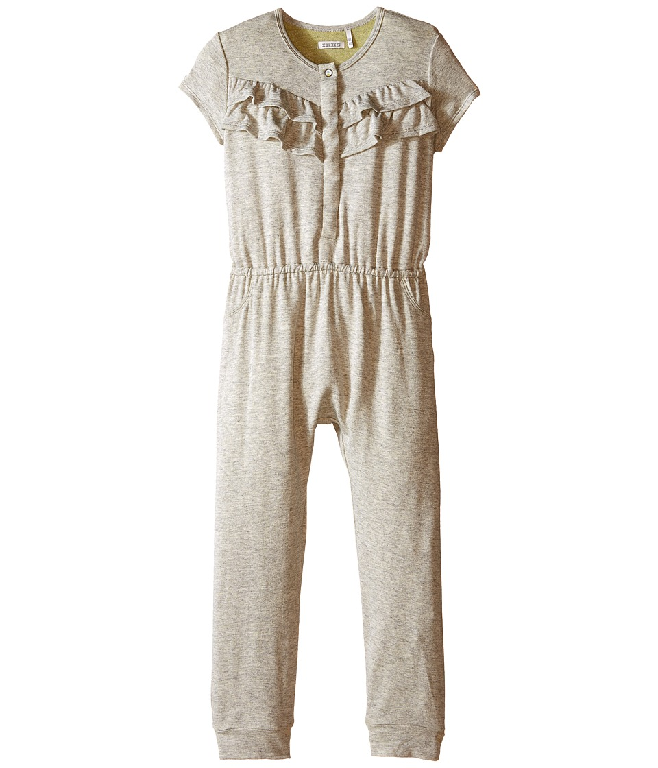 IKKS Jersey Jumpsuit with Ruffles/Snap Front with Cat/Pineapple Graphic on Back No Snaps Toddler Dark Grey Girls Jumpsuit Rompers One Piece
