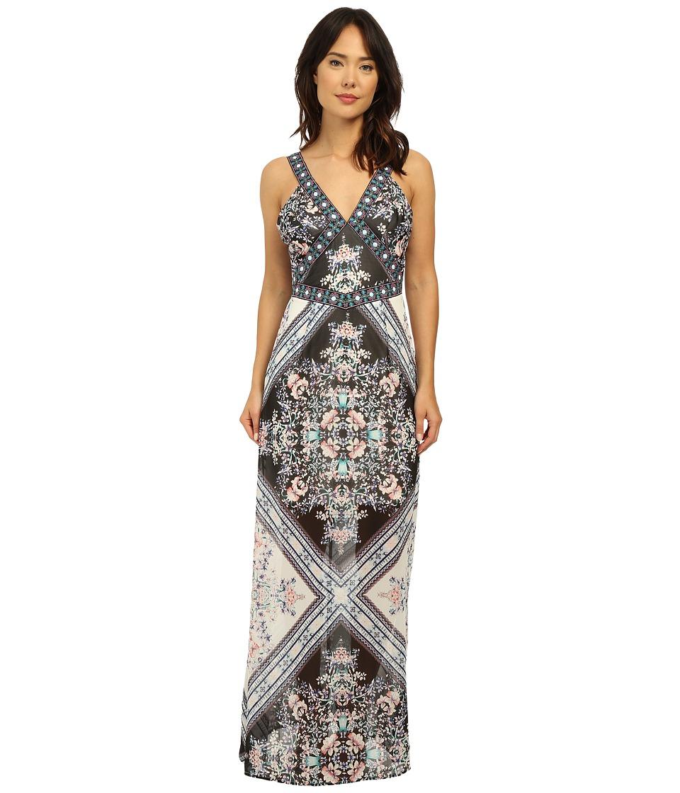 Brigitte Bailey Jasmine Print Maxi Dress Multi Black Womens Dress