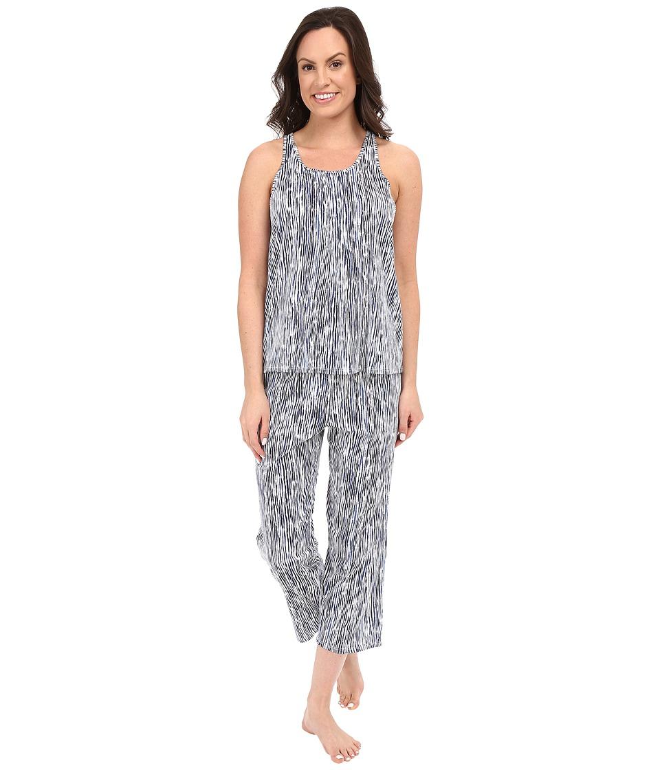DKNY Racerback Tank Top Capris Set White Painterly Stripe Womens Pajama Sets