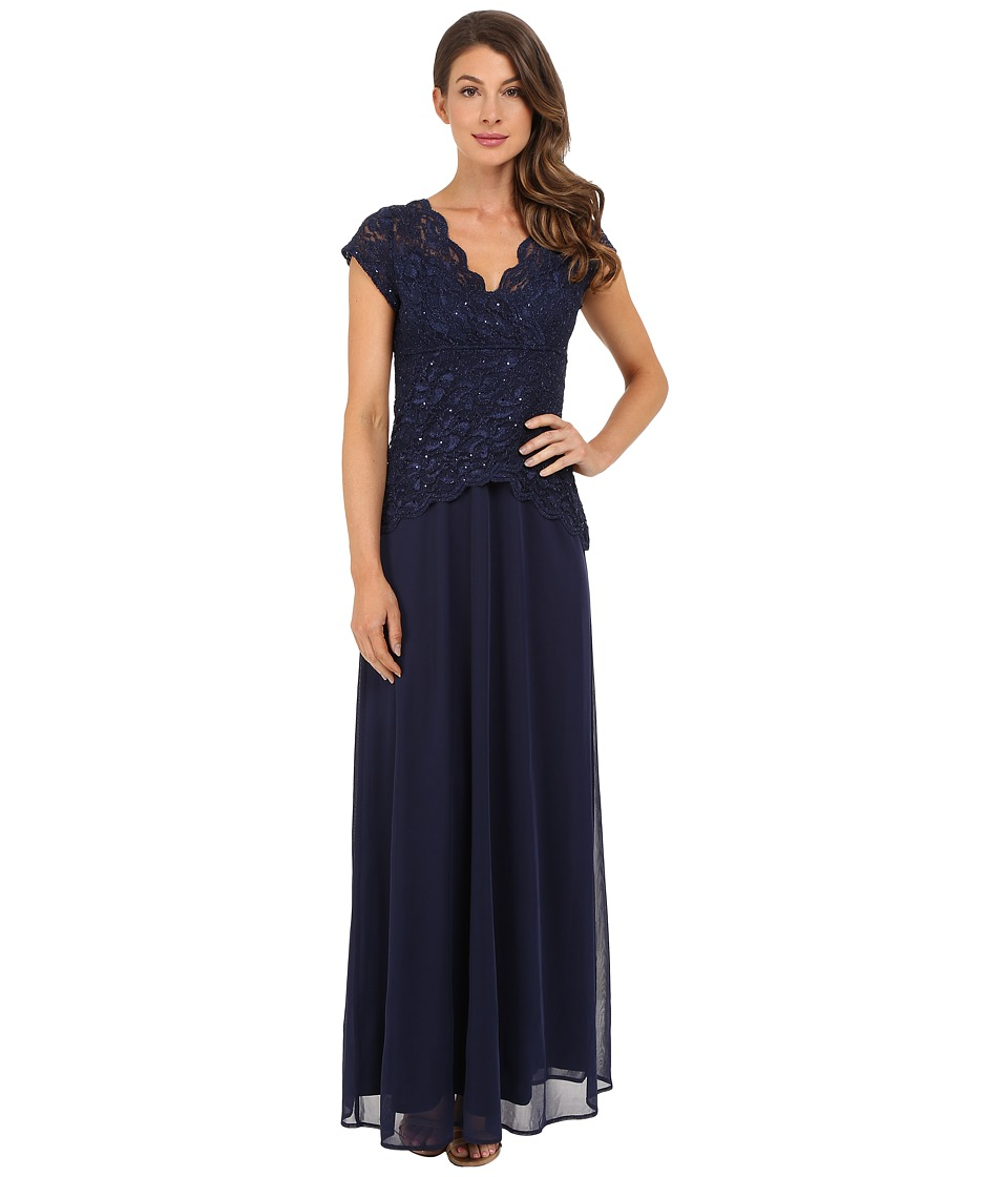 rsvp Abigail Mock Two Piece Gown Navy Womens Dress
