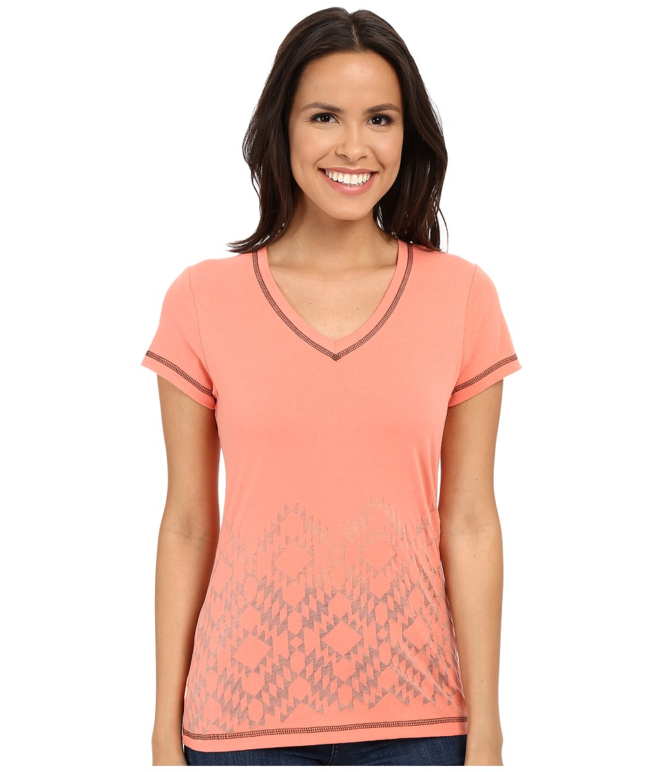 Cruel Cotton/Poly Jersey Coral Womens Short Sleeve Pullover