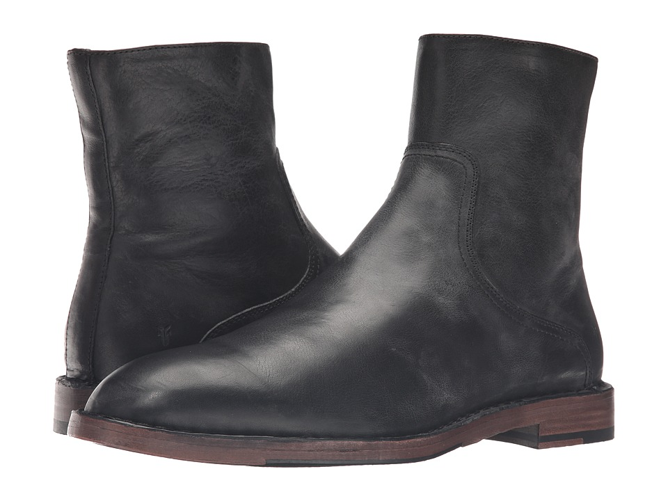 Frye - Mark Inside Zip (Black Tumbled Full Grain) Men