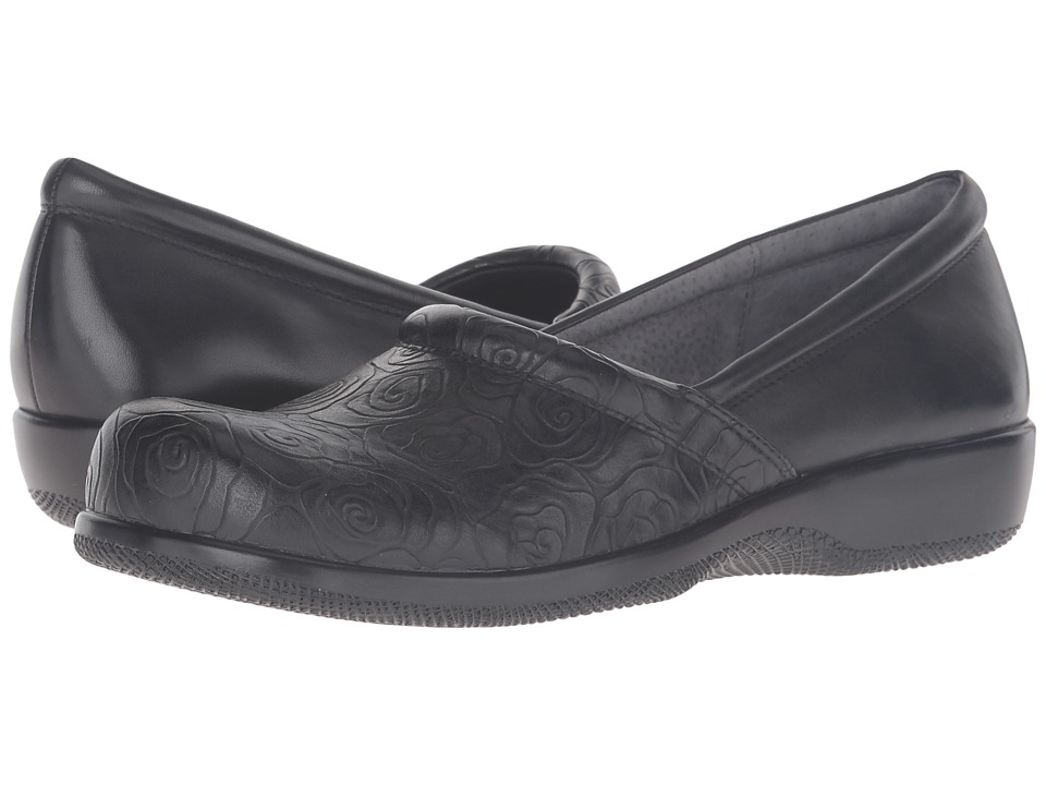 SoftWalk Adora (Black Rose Embossed/Soft Nappa Leather) Women's Shoes
