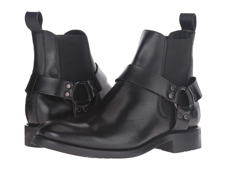 Frye - Stone Harness Chelsea (Black Smooth Pull-Up) Mens Pull-on Boots