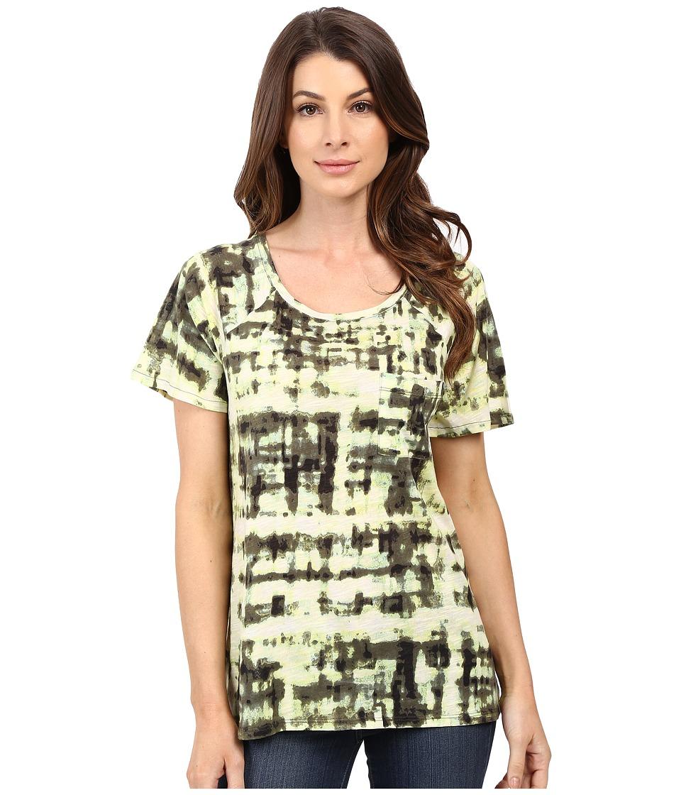 Calvin Klein Jeans Short Sleeve Abstract Plaid Printed Raglan Slub Tee Burnt Olive Womens Clothing