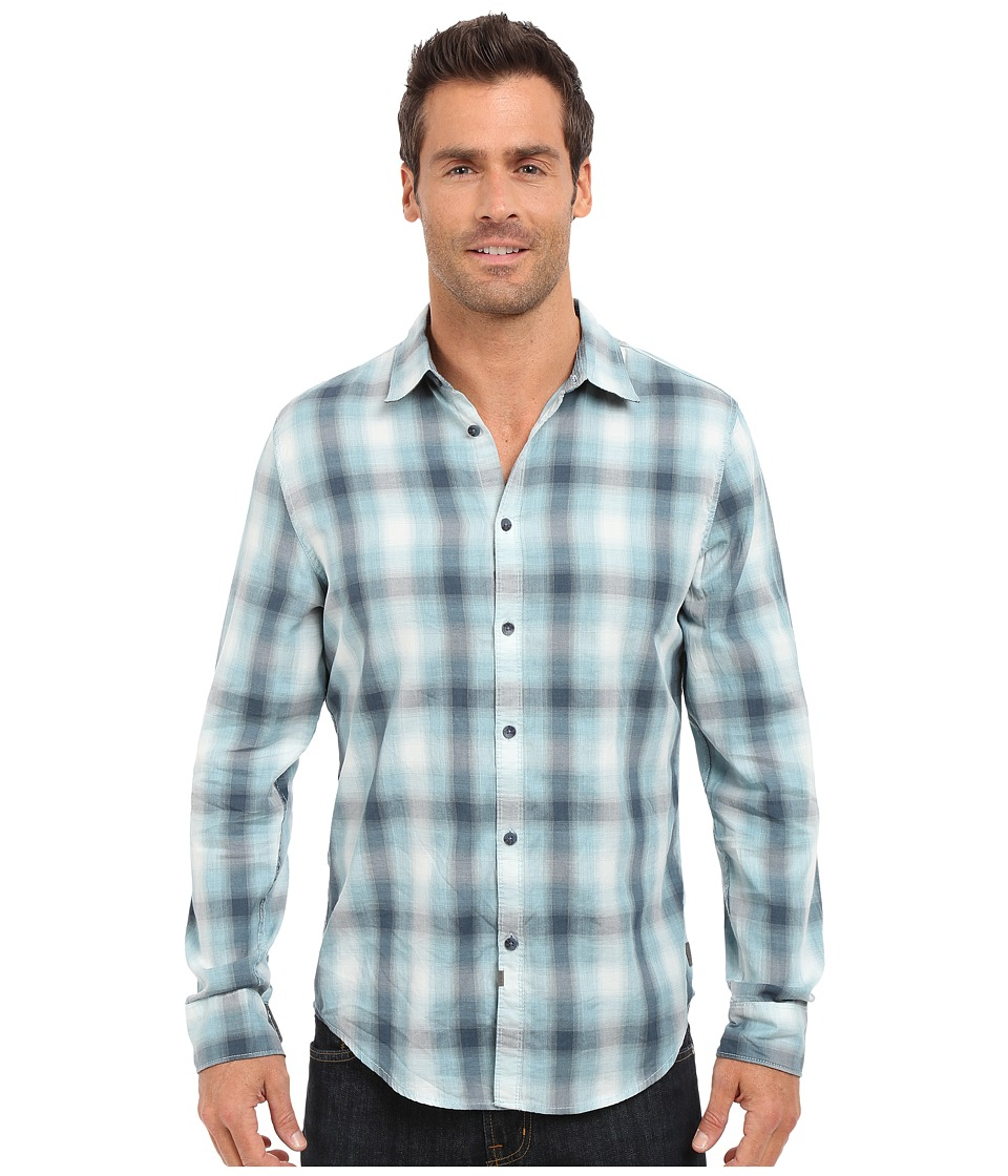 Calvin Klein Jeans Blurred Ombre Check Shirt Blue Dusk Mens Long Sleeve Button Up