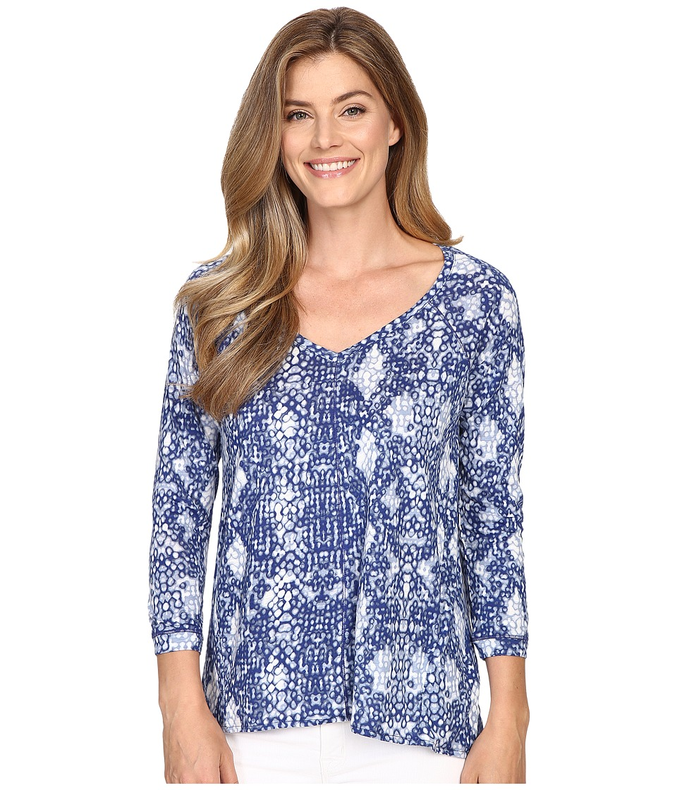 Calvin Klein Jeans - 3/4 Sleeve Printed Slub Tee (Indigo Night) Women