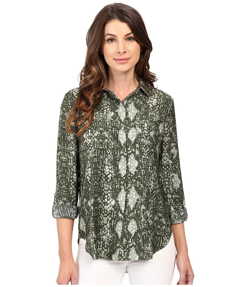 Calvin Klein Jeans Printed Utility Shirt Burnt Olive Womens Clothing