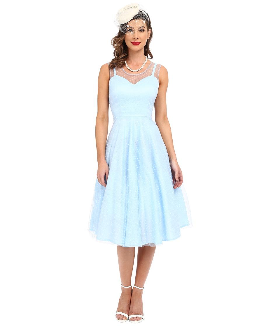 Unique Vintage - High Society Mesh Overlay Cocktail Dress Blue Dot Womens Dress $138.00 AT vintagedancer.com