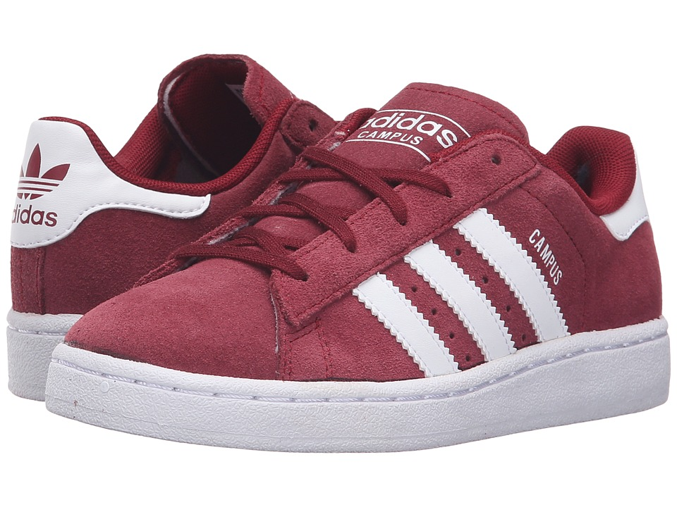adidas Originals Kids Campus 2 (Little Kid) (Collegiate Burgundy/White/White) Kids Shoes