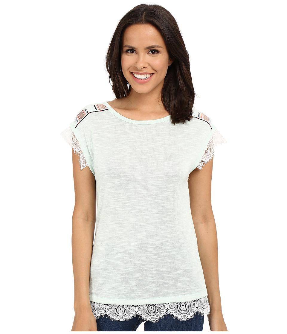 Cruel Sleeveless Mint Top w/ Lace Mint Womens Short Sleeve Pullover