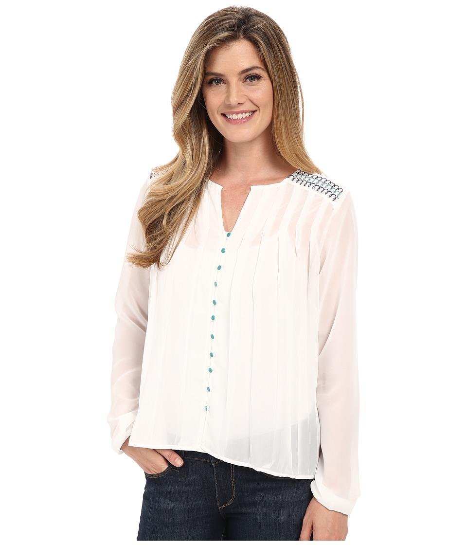 Cruel Long Sleeve Button Front Peasant Blouse White Womens Blouse