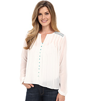 Cruel - Long Sleeve Button Front Peasant Blouse