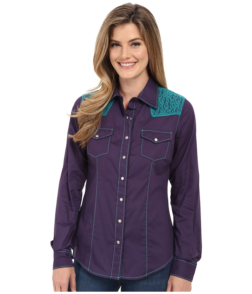 Cruel Arena Fit Long Sleeve Woven Shirt Lace Purple Womens Long Sleeve Button Up