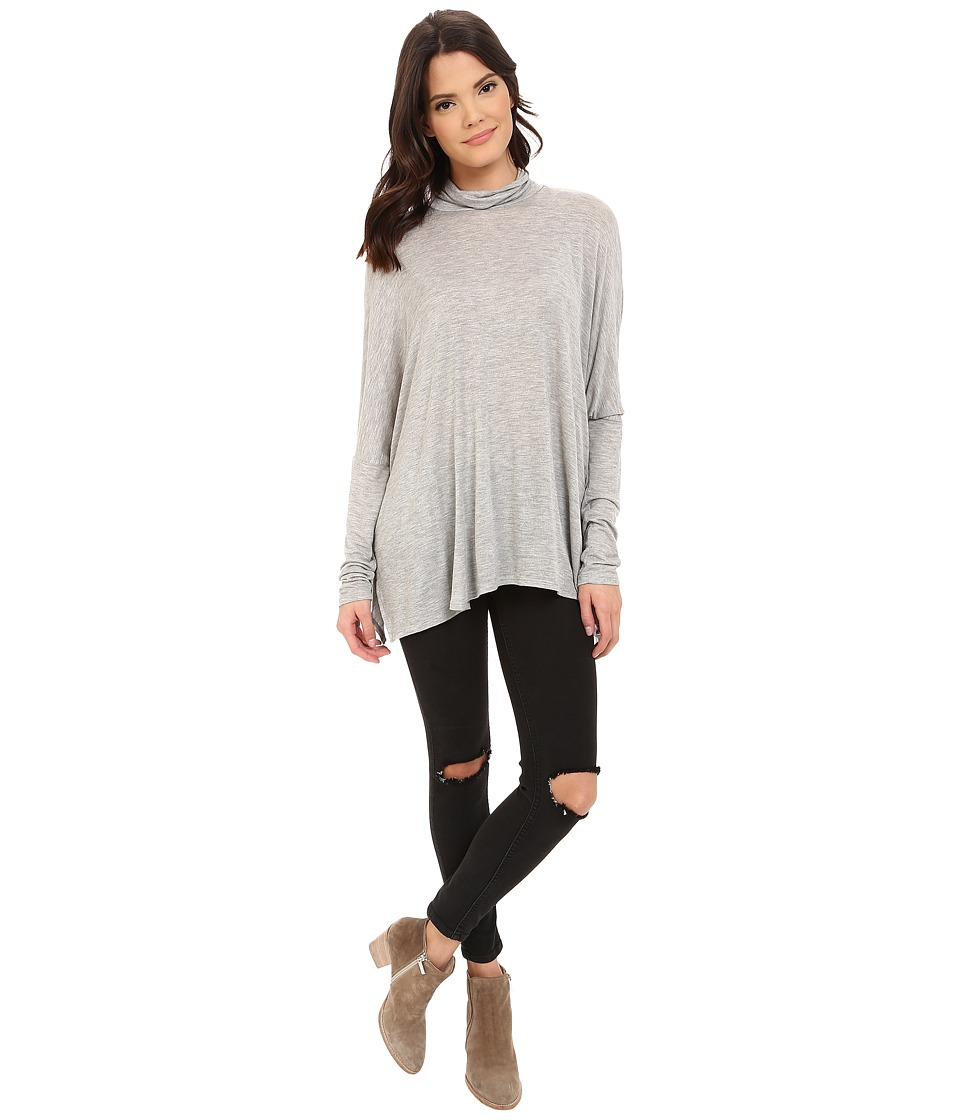 Project Social T Ann Mock Neck Heather Grey Womens Clothing