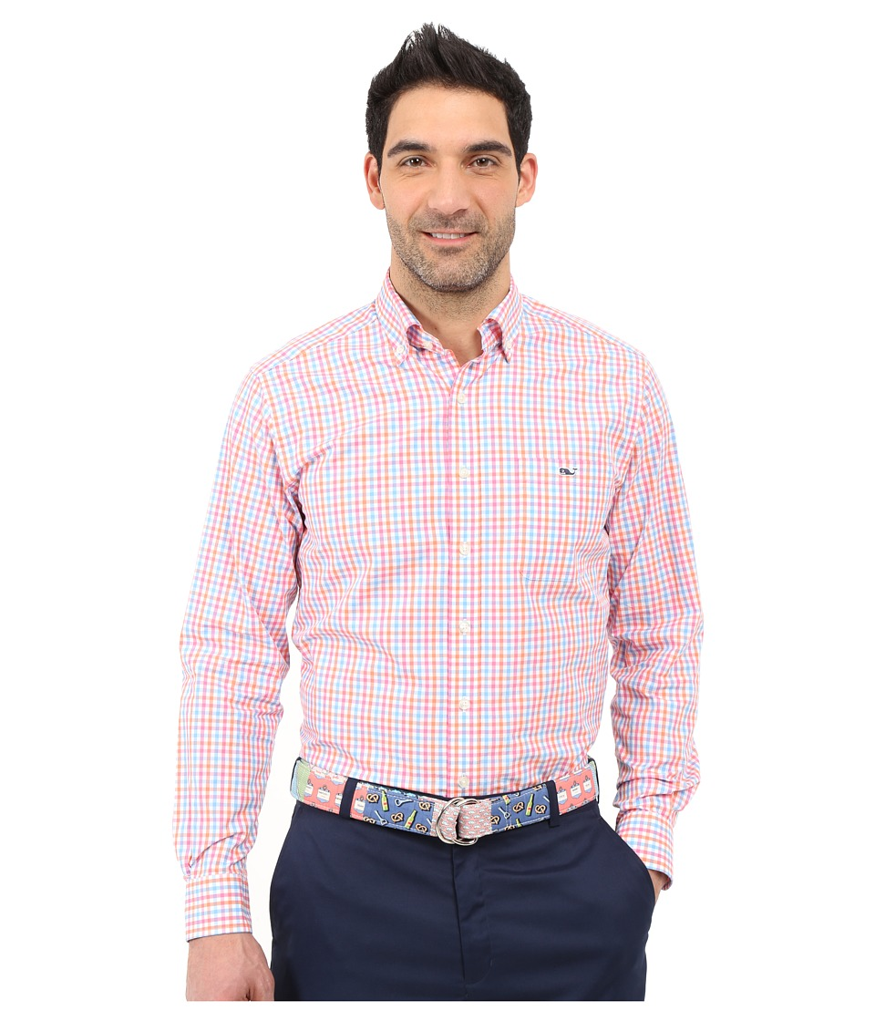 Vineyard Vines Albert Lake Gingham Slim Tucker Shirt Island Sunset Mens Clothing