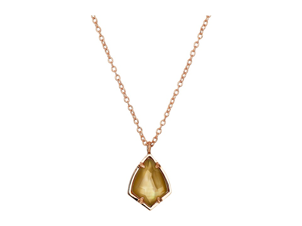 Kendra Scott Cory Necklace Rose Gold/Brown Mother of Pearl Necklace
