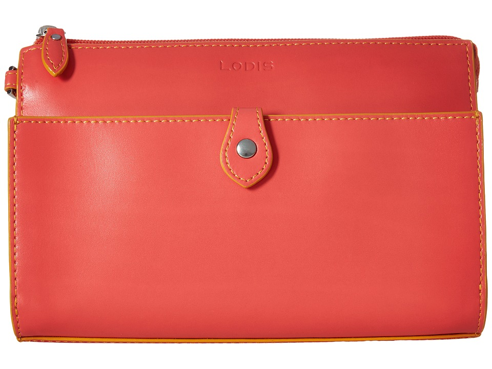 Lodis Accessories - Audrey Vicky Convertible Crossbody Clutch (Coral/Maize) Clutch Handbags