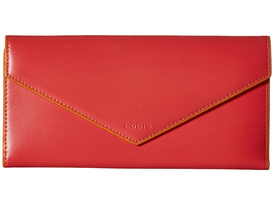 Lodis Accessories - Audrey Alix Trifold (Coral/Maize) Wallet Handbags