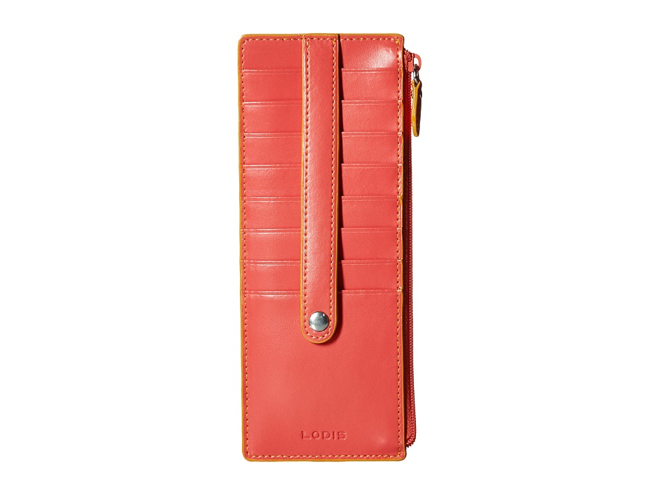 Lodis Accessories - Audrey Credit Card Case with Zipper Pocket (Coral/Maize) Credit card Wallet