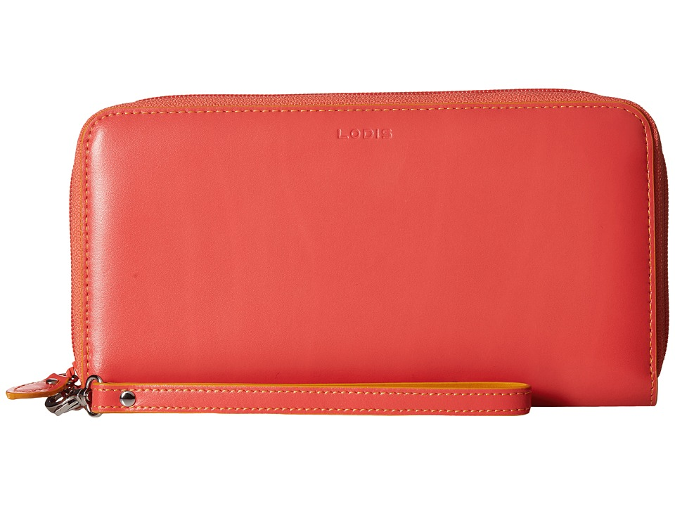 Lodis Accessories - Audrey Vera Wristlet Wallet (Coral/Maize) Wallet Handbags