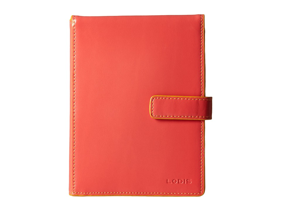 Lodis Accessories - Audrey Passport Wallet w/ Ticket Flap (Coral/Maize) Checkbook Wallet