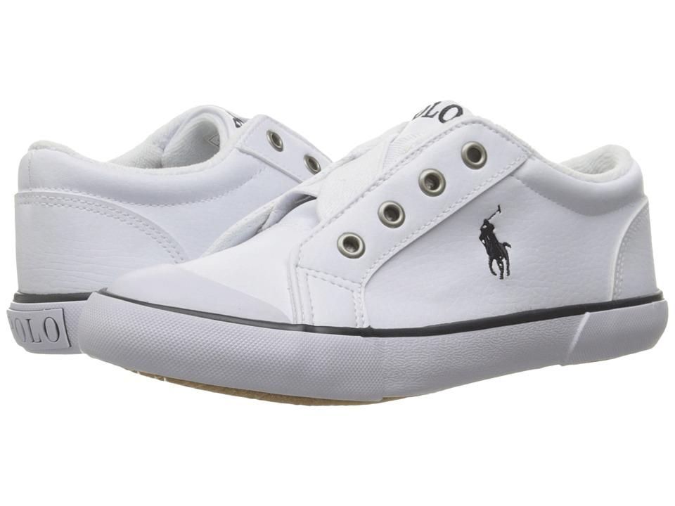 Polo Ralph Lauren Kids - Greggner (Toddler) (White Tumbled/Navy Pony) Boys Shoes
