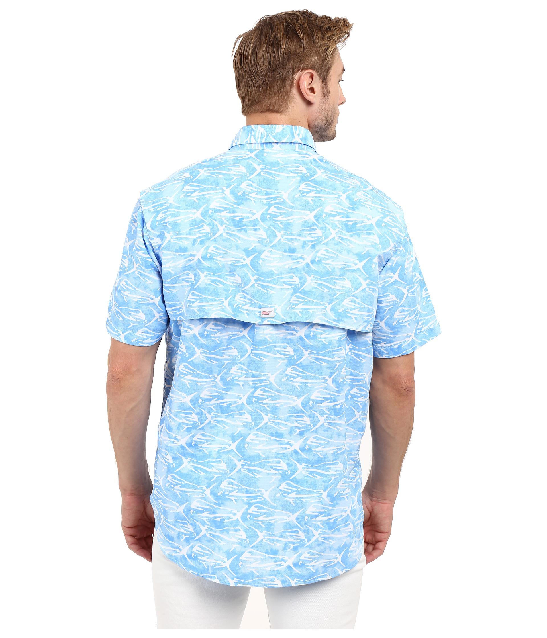 Vineyard vines dolphinfish print harbor shirt jake blue for Vineyard vines fishing shirt