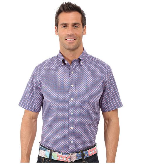 Vineyard Vines Printed Flag Whale Short Sleeve Murray Shirt