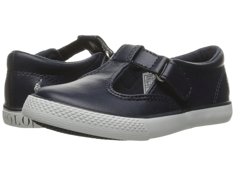 Polo Ralph Lauren Kids Tabby T-Strap (Toddler) (Navy Tumbled/White Pony) Girl's Shoes