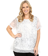 Vince Camuto Plus - Plus Size Short Sleeve Floral Contour Mix Media Blouse
