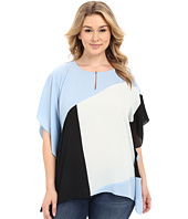 Vince Camuto Specialty Size - Plus Size Color Block Keyhole Poncho