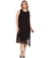 Vince Camuto Plus - Plus Size Sleeveless Dress with Asymmetrical Chiffon Overlay