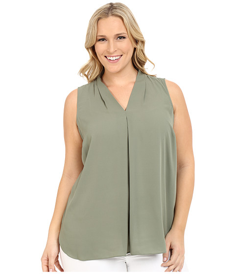 Vince Camuto Plus - Plus Size Sleeveless Blouse with Inverted Front Pleat (Sage) Women's Blouse