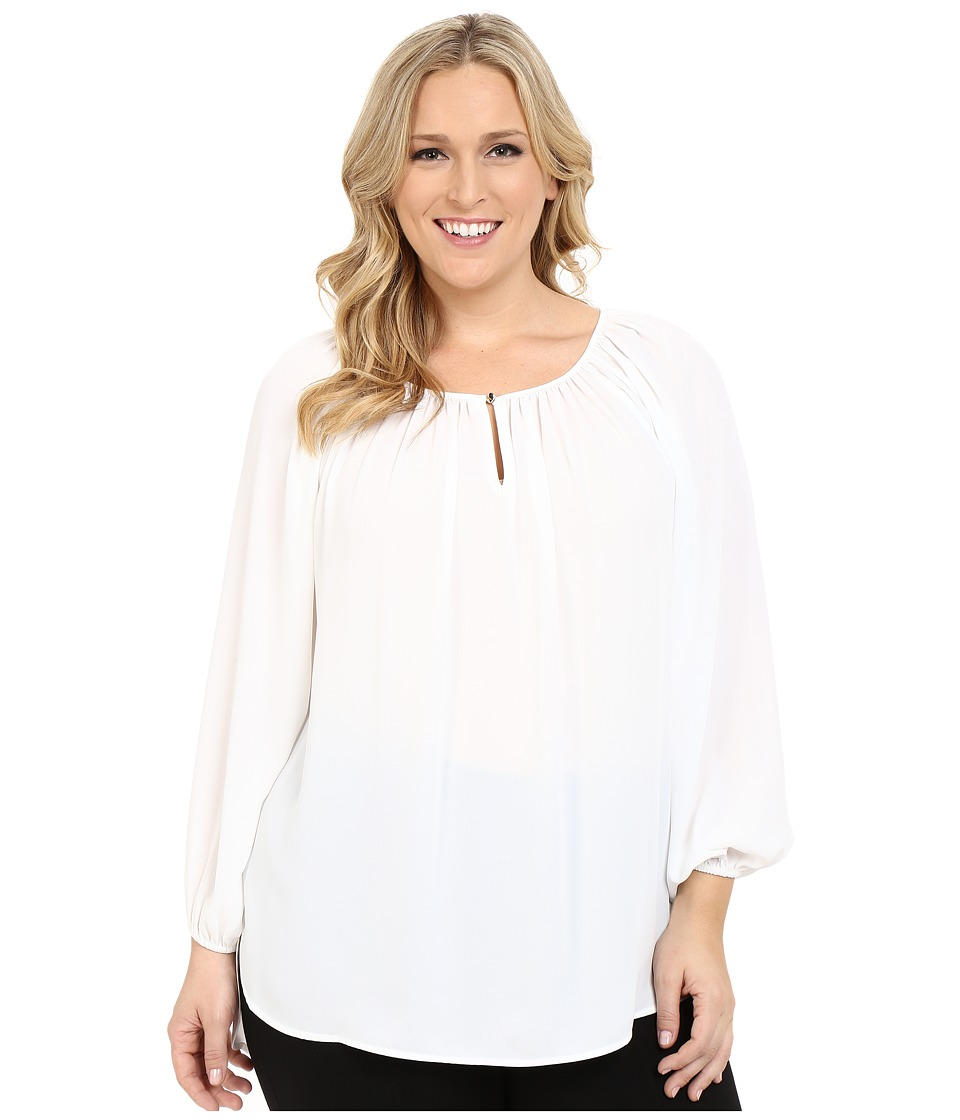 Vince Camuto Plus Plus Size Long Sleeve Shirred Neck Peasant Blouse New Ivory Womens Blouse