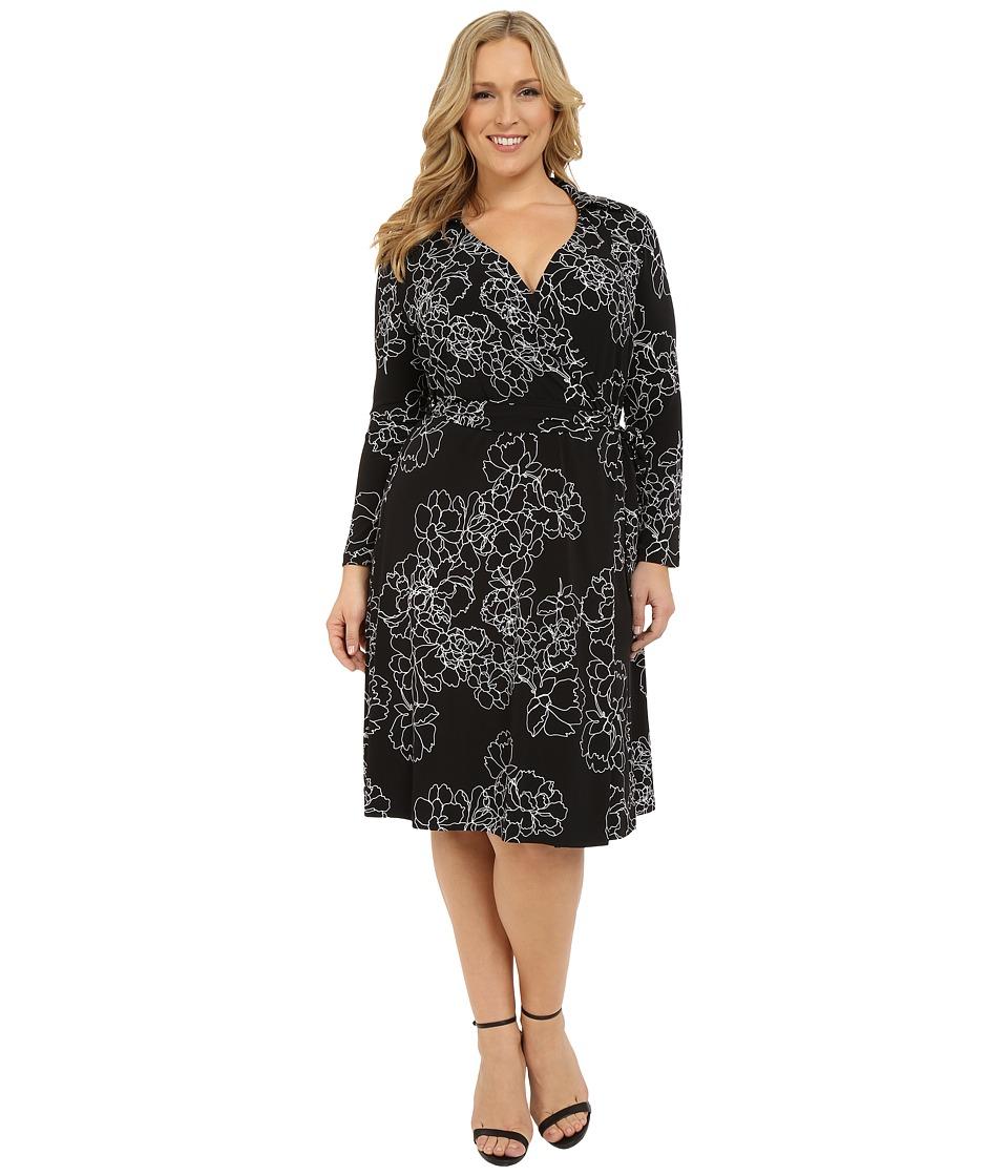 Vince Camuto Plus Plus Size Long Sleeve Floral Contrours Faux Wrap Dress Rich Black Womens Dress