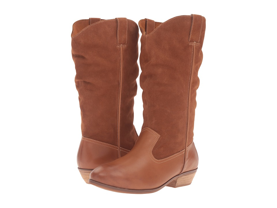 SoftWalk Rock Creek Wide Calf (Cognac Smooth Leather/Cow Suede) Women