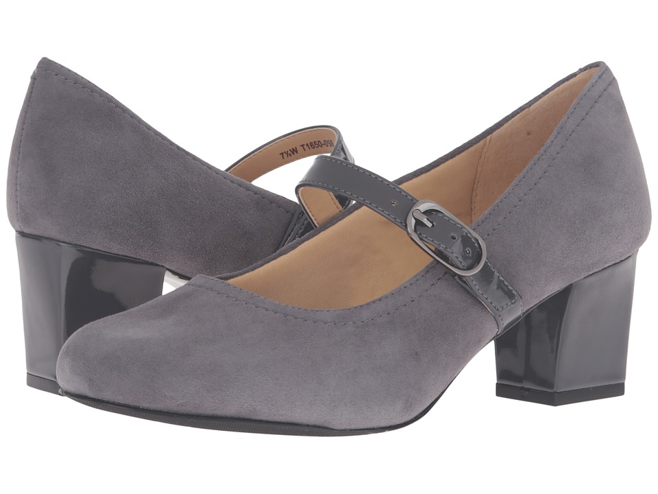 Trotters - Candice Dark Grey Kid Suede LeatherPatenet High Heels $99.95 AT vintagedancer.com