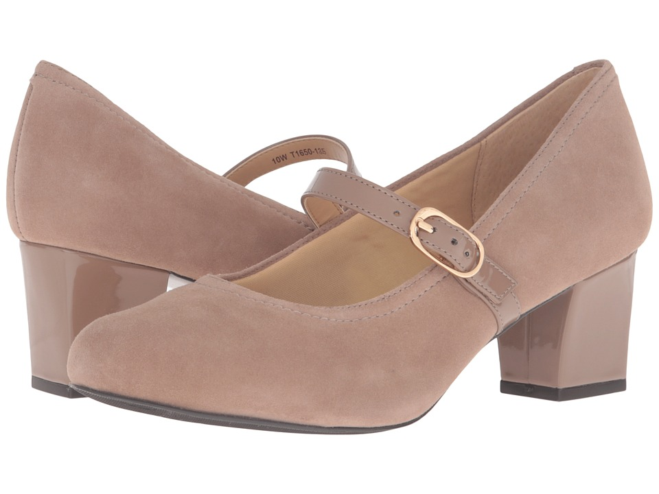 1940s Style Shoes Trotters - Candice Dark Nude Kid Suede LeatherPatent High Heels $99.95 AT vintagedancer.com