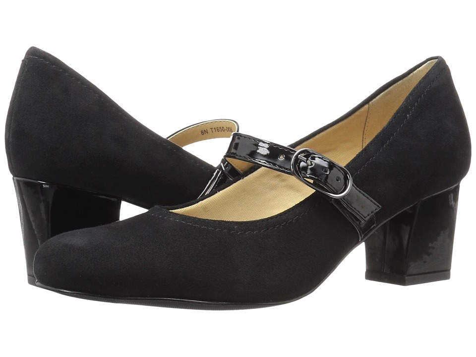 Trotters - Candice (Black Kid Suede Leather/Patent) High Heels