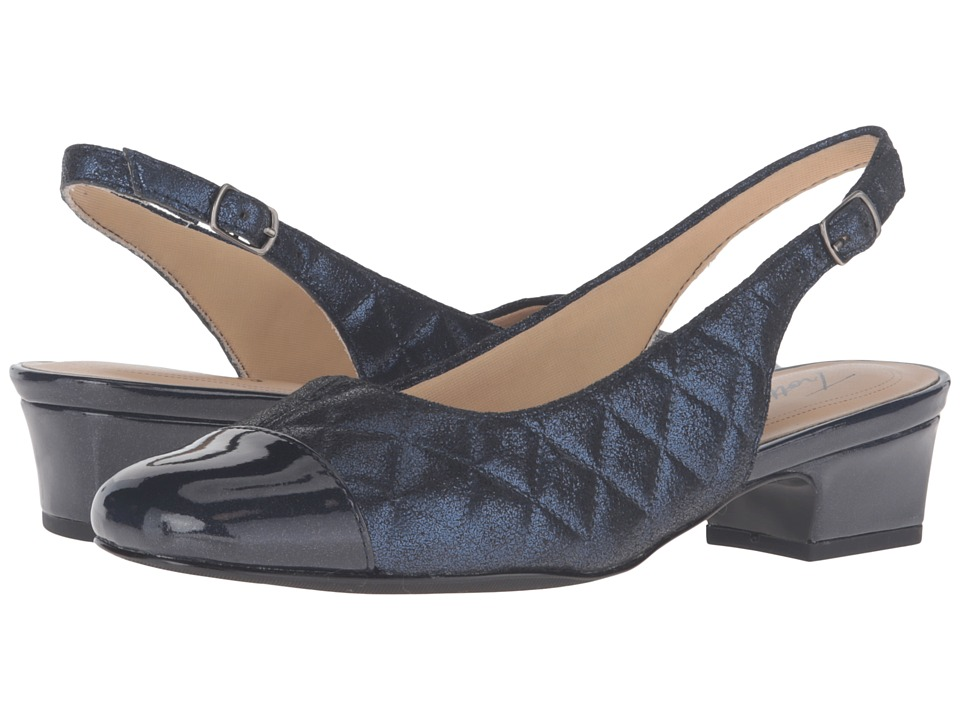 Trotters Dea (Navy Quilted/Pearlized Patent)