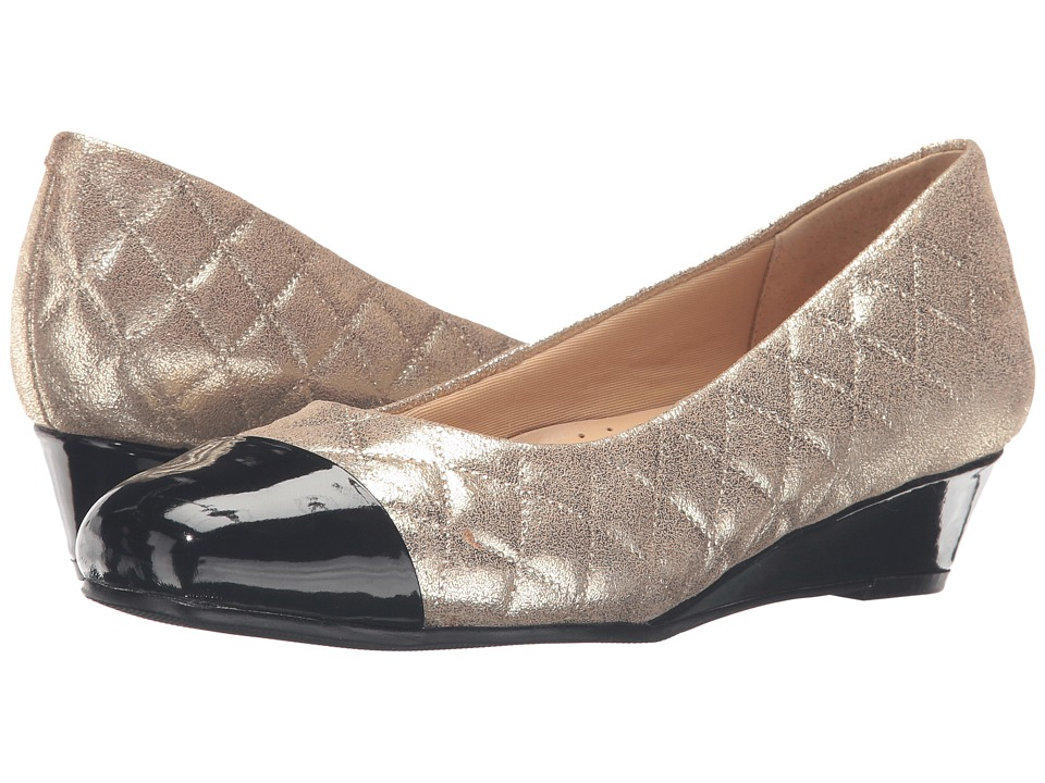 Trotters - Langley (Gold Quilted/Black Pearlized Patent) Womens Wedge Shoes